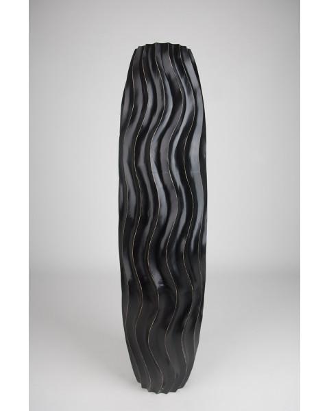 Leewadee Tall Big Floor Standing Vase For Home Decor 112 cm, Mango Wood, black