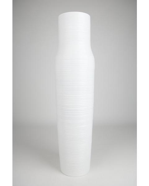 Leewadee Grand vase à poser au sol - Vase à poser au sol pour branches décoratives, vase haut design en bois de manguier, 112 cm, blanc
