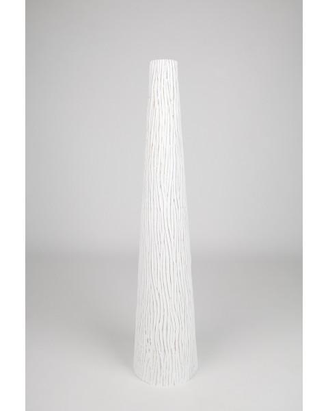 Leewadee Grand vase à poser au sol - Vase à poser au sol pour branches décoratives, vase haut design en bois de manguier, 90 cm, blanc