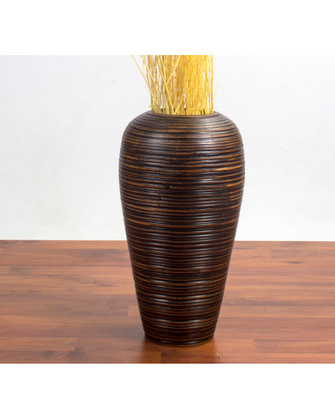 Leewadee Tall Big Floor Standing Vase For Home Decor, 9x15 inches, Mango Wood, brown
