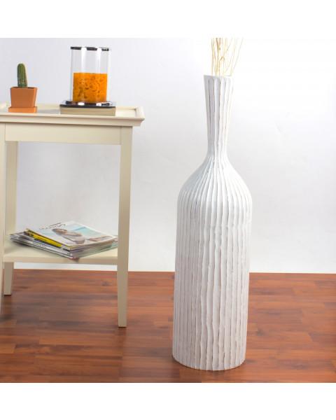 Leewadee Tall Big Floor Standing Vase For Home Decor 75 cm, Mango Wood, white
