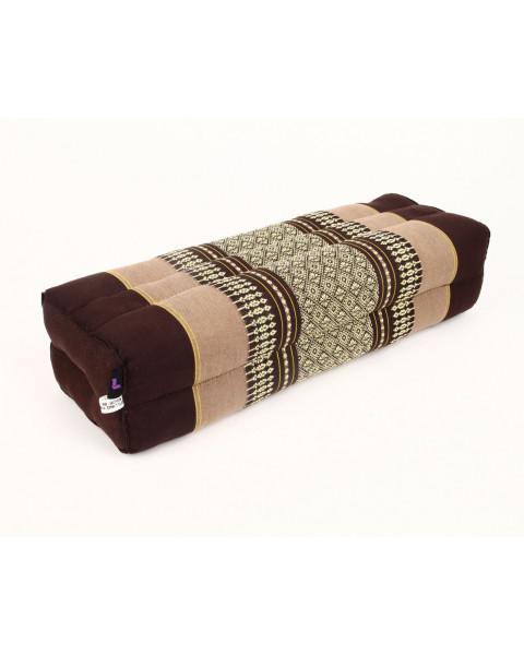 Leewadee bloque de yoga grande – Cojín alargado para pilates y meditación, cojín para el suelo hecho de kapok natural, 50 x 15 x 10 cm, marrón