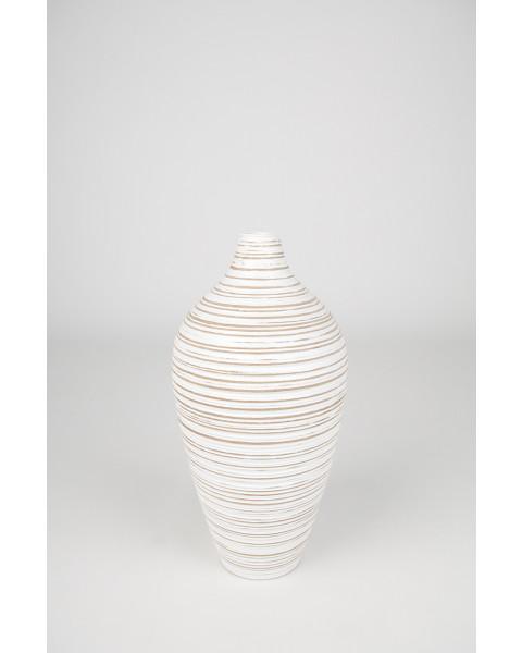 Leewadee Vase à poser au sol - Vase à poser au sol pour branches décoratives, vase haut design en bois de manguier, 41 cm, white wash