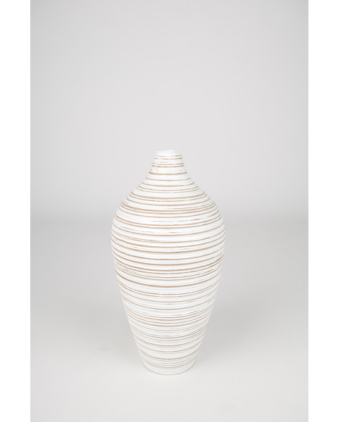 Leewadee Tall Big Floor Standing Vase For Home Decor, 5x8 inches, Mango Wood, white wash