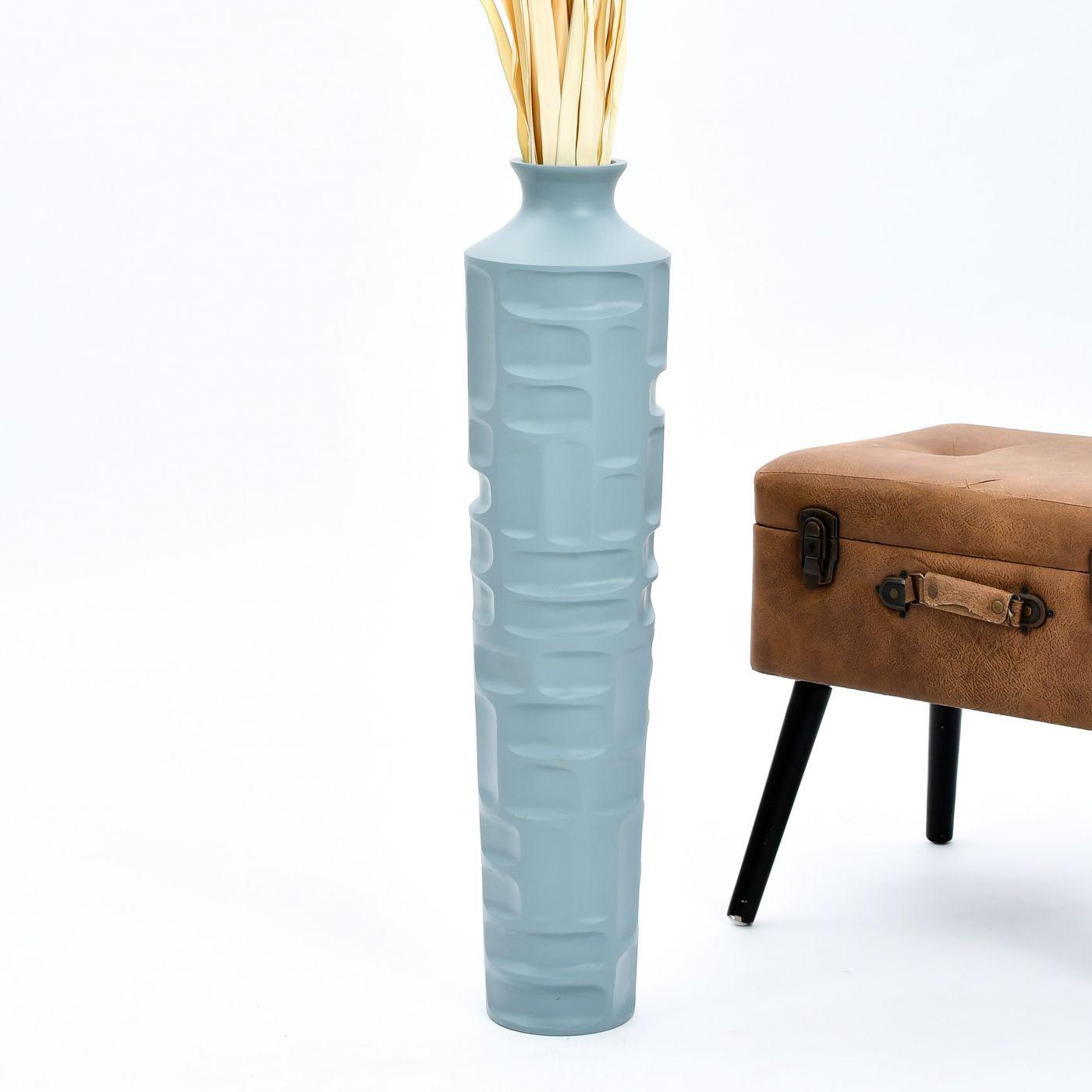 Madera de Mango Leewadee Jarr/ón De Suelo Grande para Ramas Secas Decorativas Florero Alto De Piso Decoraci/ón Casa 90 cm Azul