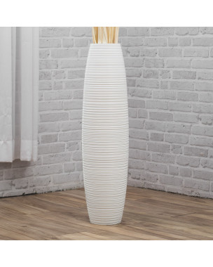 Leewadee Large Floor Vase – Handmade Flower Holder Made of Wood, Sophisticated Vessel for Decorative Branches and Dried Flowers, 36 inches, white