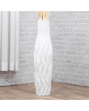 Leewadee Large Floor Vase – Handmade Flower Holder Made of Wood, Sophisticated Vessel for Decorative Branches and Dried Flowers, 30 inches, white