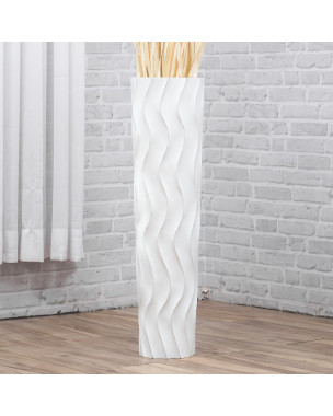Leewadee Tall Big Floor Standing Vase For Home Decor 30 inches, Mango Wood, white