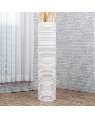 Leewadee Large Floor Vase – Handmade Flower Holder Made of Wood, Sophisticated Vessel for Decorative Branches and Dried Flowers, 44 inches, white