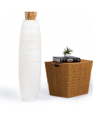 Leewadee Tall Big Floor Standing Vase For Home Decor 36 inches, Mango Wood, white wash
