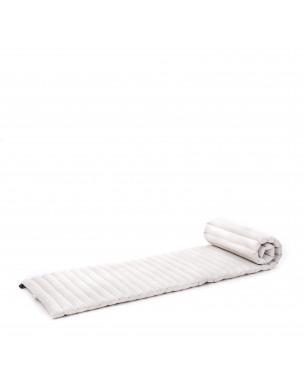 Leewadee Rollbare Thai Matte, 200x50x5 cm, Platzsparende Gästematratze für 1 person Yogamatte Massagematte Ökologisches Naturprodukt,  Kapok, natur