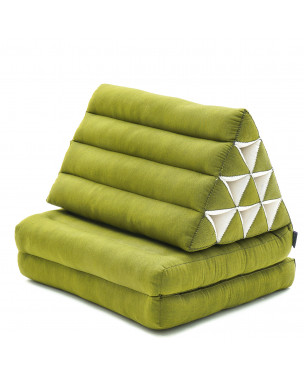 Leewadee Foldout Triangle Thai-Cushion Floor-Seat with Back-Rest TV Pillow Lounge-r Foldable Out-Door Mattress , 45x20x13 inches, Kapok, green