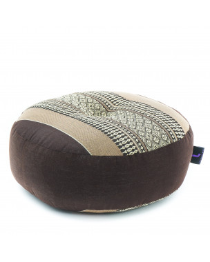 Leewadee Zafu Pillow Mini – Round Meditation Cushion for Yoga Exercises, Small Floor Pillow Filled with Eco-Friendly Kapok, 13 x 13 x 5 inches, brown