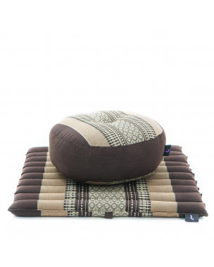 Leewadee Meditation Cushion Set: Round Zafu Pillow and Small Square Roll-Up Zabuton Mat For Floor Seating Eco-Friendly Organic and Natural, 20x20x7 inches, Kapok, brown
