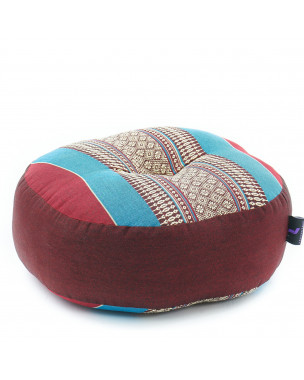 Leewadee Meditation Cushion Round Zafu Pillow For Floor Seating Eco-Friendly Organic and Natural, 13x13x5 inches, Kapok, blue red
