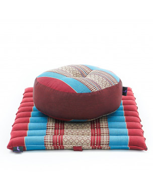 Leewadee Meditation Cushion Set: Round Zafu Pillow and Small Square Roll-Up Zabuton Mat For Floor Seating Eco-Friendly Organic and Natural, 20x20x7 inches, Kapok, blue red