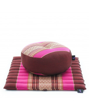 Leewadee Meditation Cushion Set: Round Zafu Pillow and Small Square Roll-Up Zabuton Mat For Floor Seating Eco-Friendly Organic and Natural, 20x20x7 inches, Kapok, auburn pink