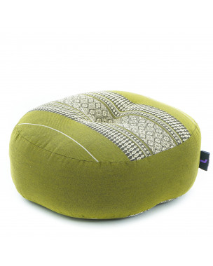 Leewadee Zafu Pillow Mini – Round Meditation Cushion for Yoga Exercises, Small Floor Pillow Filled with Eco-Friendly Kapok, 13 x 13 x 5 inches, green
