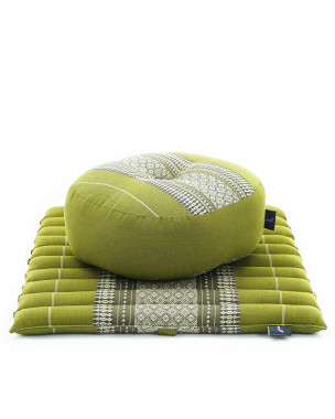 Leewadee Meditation Cushion Set: Round Zafu Pillow and Small Square Roll-Up Zabuton Mat For Floor Seating Eco-Friendly Organic and Natural, 20x20x7 inches, Kapok, green