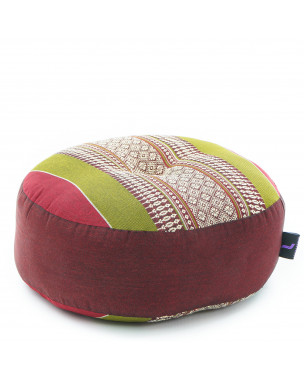 Leewadee Zafu Pillow Mini – Round Meditation Cushion for Yoga Exercises, Small Floor Pillow Filled with Eco-Friendly Kapok, 13 x 13 x 5 inches, green red