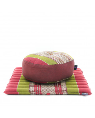 Leewadee Meditation Cushion Set: Round Zafu Pillow and Small Square Roll-Up Zabuton Mat For Floor Seating Eco-Friendly Organic and Natural, 20x20x7 inches, Kapok, green red