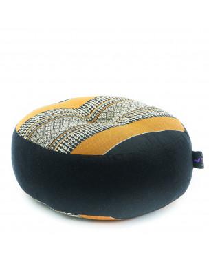 Leewadee Zafu Pillow Mini – Round Meditation Cushion for Yoga Exercises, Small Floor Pillow Filled with Eco-Friendly Kapok, 13 x 13 x 5 inches, black orange