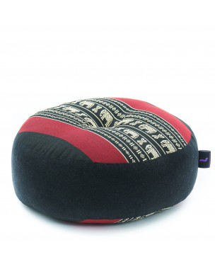 Leewadee Meditation Cushion Round Zafu Pillow For Floor Seating Eco-Friendly Organic and Natural, 13x13x5 inches, Kapok, black red
