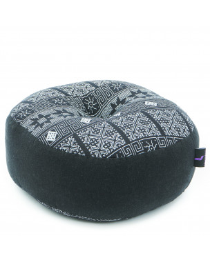 Leewadee Meditation Cushion Round Zafu Pillow For Floor Seating Eco-Friendly Organic and Natural, 13x13x5 inches, Kapok, black