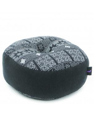 Leewadee Meditation Cushion Round Zafu Pillow For Floor Seating Eco-Friendly Organic and Natural, 13x13x5 inches, Kapok, black