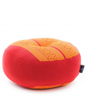 Leewadee Meditation Cushion Round Zafu Pillow For Floor Seating Eco-Friendly Organic and Natural, 13x13x5 inches, Kapok, orange red