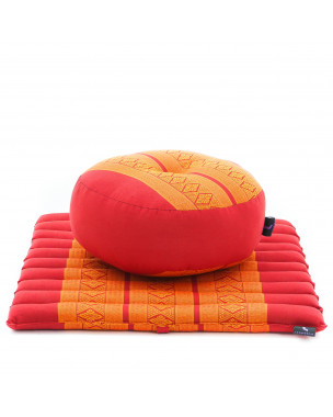 Leewadee Meditation Cushion Set: Round Zafu Pillow and Small Square Roll-Up Zabuton Mat For Floor Seating Eco-Friendly Organic and Natural, 20x20x7 inches, Kapok, orange red
