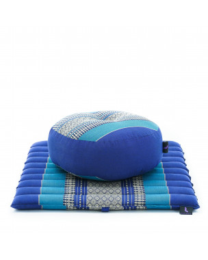 Leewadee Meditation Cushion Set: Round Zafu Pillow and Small Square Roll-Up Zabuton Mat For Floor Seating Eco-Friendly Organic and Natural, 20x20x7 inches, Kapok, blue