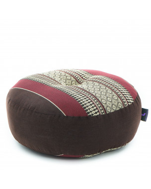Leewadee Zafu Pillow Mini – Round Meditation Cushion for Yoga Exercises, Small Floor Pillow Filled with Eco-Friendly Kapok, 13 x 13 x 5 inches, brown red