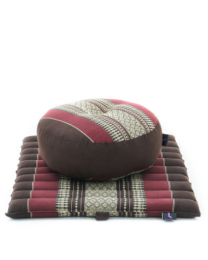 Leewadee Meditation Cushion Set: Round Zafu Pillow and Small Square Roll-Up Zabuton Mat For Floor Seating Eco-Friendly Organic and Natural, 20x20x7 inches, Kapok, brown red