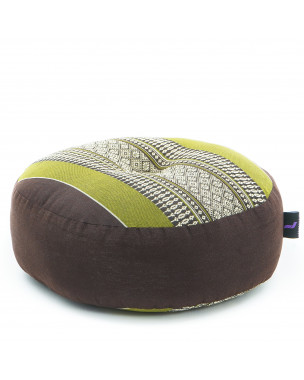 Leewadee Zafu Pillow Mini – Round Meditation Cushion for Yoga Exercises, Small Floor Pillow Filled with Eco-Friendly Kapok, 13 x 13 x 5 inches, brown green