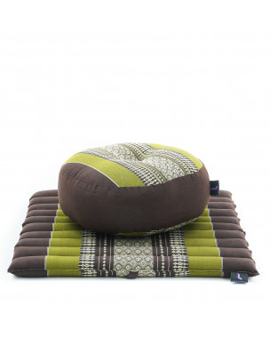 Leewadee Meditation Cushion Set: Round Zafu Pillow and Small Square Roll-Up Zabuton Mat For Floor Seating Eco-Friendly Organic and Natural, 20x20x7 inches, Kapok, brown green