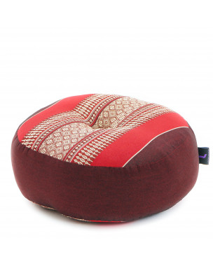 Leewadee Meditation Cushion Round Zafu Pillow For Floor Seating Eco-Friendly Organic and Natural, 13x13x5 inches, Kapok, red