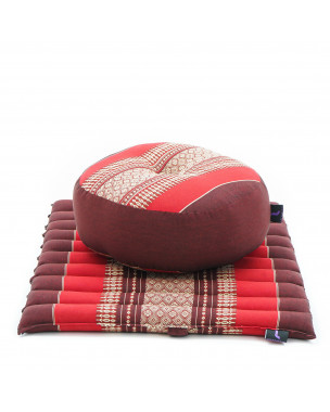 Leewadee Meditation Cushion Set: Round Zafu Pillow and Small Square Roll-Up Zabuton Mat For Floor Seating Eco-Friendly Organic and Natural, 20x20x7 inches, Kapok, red