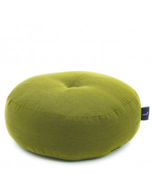 Leewadee Meditation Cushion Round Zafu Pillow For Floor Seating Eco-Friendly Organic and Natural, 13x13x5 inches, Kapok, green