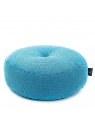 Leewadee Meditation Cushion Round Zafu Pillow For Floor Seating Eco-Friendly Organic and Natural, 13x13x5 inches, Kapok, light blue