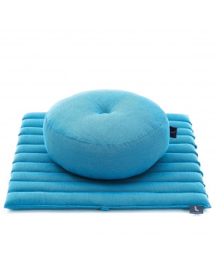 Leewadee Meditation Cushion Set: Round Zafu Pillow and Small Square Roll-Up Zabuton Mat For Floor Seating Eco-Friendly Organic and Natural, 20x20x7 inches, Kapok, light blue