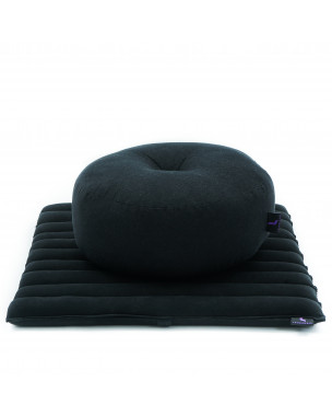 Leewadee Meditation Cushion Set: Round Zafu Pillow and Small Square Roll-Up Zabuton Mat For Floor Seating Eco-Friendly Organic and Natural, 20x20x7 inches, Kapok, black