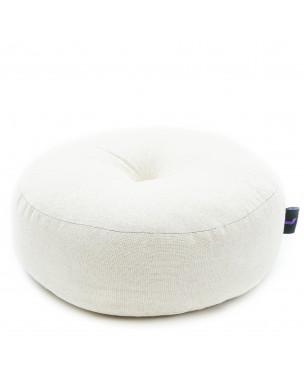 Leewadee Zafu Pillow Mini – Round Meditation Cushion for Yoga Exercises, Small Floor Pillow Filled with Eco-Friendly Kapok, 13 x 13 x 5 inches, ecru