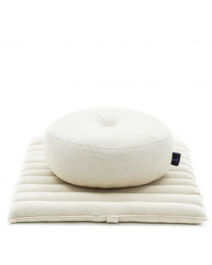 Leewadee Meditation Cushion Set: Round Zafu Pillow and Small Square Roll-Up Zabuton Mat For Floor Seating Eco-Friendly Organic and Natural, 20x20x7 inches, Kapok, ecru