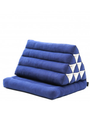 Leewadee Foldout Triangle Thai-Cushion Floor-Seat with Back-Rest Reading Pillow TV Pillow Lounge-r Foldable Out-Door Mattress , 30x20x16 inches, Kapok, blue