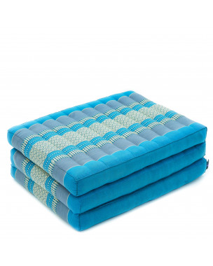 Leewadee Foldable Thai Mattress, 79x20x3 inches, Narrow Guest Bed Tri-Fold Yoga Floor Mat Thai Massage Pad TV Floor Seat Game Chair Eco-Friendly Organic and Natural,  Kapok, light blue
