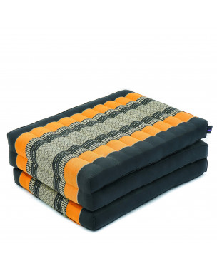 Leewadee Foldable Thai Mattress, 79x20x3 inches, Narrow Guest Bed Tri-Fold Yoga Floor Mat Thai Massage Pad TV Floor Seat Game Chair Eco-Friendly Organic and Natural,  Kapok, black orange