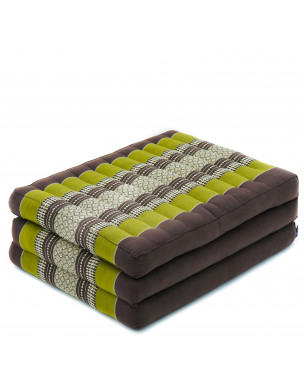 Leewadee Foldable Thai Mattress, 79x20x3 inches, Narrow Guest Bed Tri-Fold Yoga Floor Mat Thai Massage Pad TV Floor Seat Game Chair Eco-Friendly Organic and Natural,  Kapok, brown green