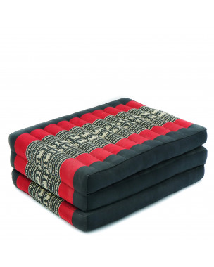 Leewadee Foldable Thai Mattress, 79x20x3 inches, Narrow Guest Bed Tri-Fold Yoga Floor Mat Thai Massage Pad TV Floor Seat Game Chair Eco-Friendly Organic and Natural,  Kapok, black red