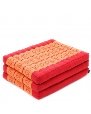 Leewadee Foldable Thai Mattress, 79x20x3 inches, Space Saving Guest Bed Tri-Fold Yoga Floor Mat Thai Massage Pad TV Floor Seat Game Chair Eco-Friendly Organic and Natural,  Kapok, orange red